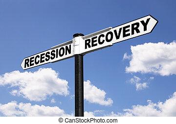 recessão, signpost, recuperação