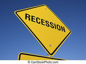 recessão, sinal estrada