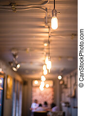 Recessed ceiling lights in a coffee shop