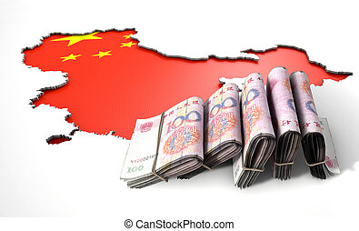Recessed Country Map And Cash China - A chinese flag in the...