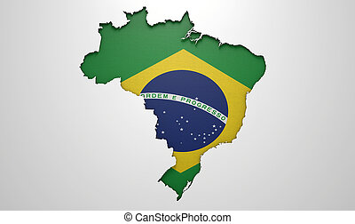 Recessed Country Map Brazil - The shape of the country of...