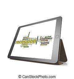 recessie, woord, wolk, op, tablet