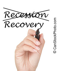 Hand crossing over recession and writing recovery on copy space on virtual whiteboard / screen. Easily replaced with your own text. Isolated on white background.