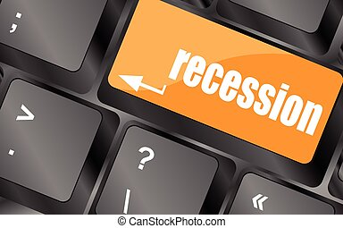 recession button on computer keyboard key, vector illustration