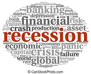 Recession concept on white - Global crisis concept in info-...