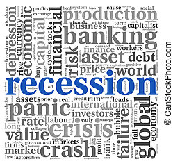 Recession concept on white - Recession and crisis concept in...