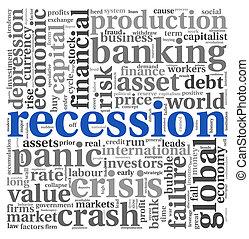Recession concept on white - Recession and crisis concept in...