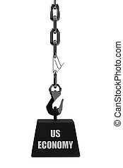 Recession - Conceptual image of the US economy being at risk