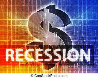 Recession Finance illustration, dollar symbol over financial...