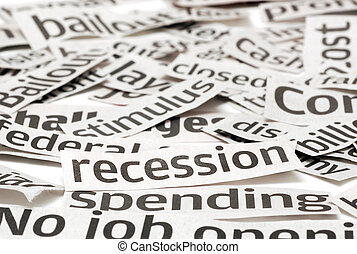 Recession Headlines - News headlines on a bad economy. Focus...