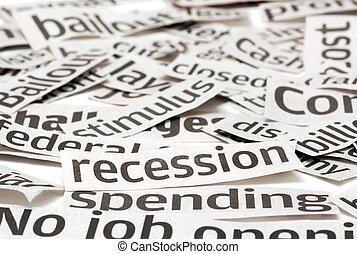 Recession Headlines - News headlines on a bad economy. Focus...