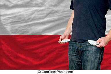 poor man showing empty pockets in front of poland flag