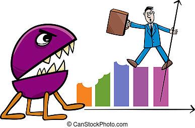recession in business cartoon illustration - Concept Cartoon...