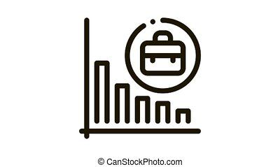 recession of business job offers Icon Animation. black recession of business job offers animated icon on white background