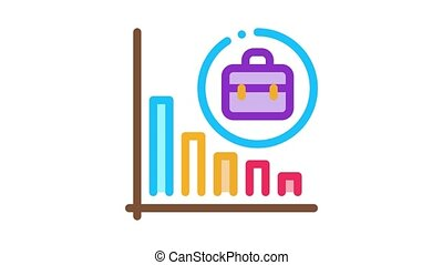 recession of business job offers Icon Animation. color recession of business job offers animated icon on white background