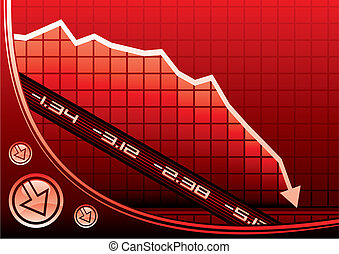 Recession on graph - Arrow on graph going down due of...