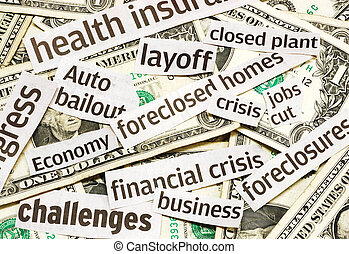Recession - News headlines and money representing an economy...