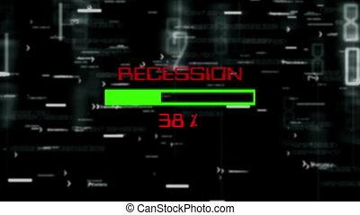 Recession progress bar on digital background