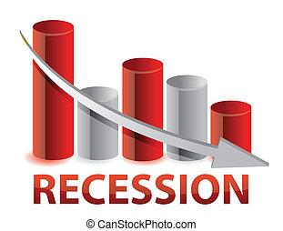 recession red business graph illustration design
