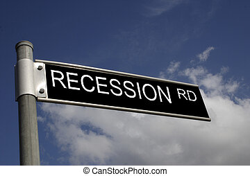 recession road - street sign with a business message