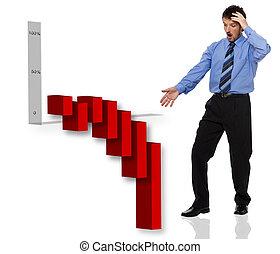 recession - business men looking down - recession concept