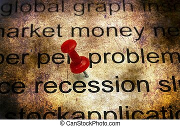 Recession text grunge concept