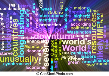 Recession wordcloud glowing
