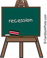 recession written on chalkboard
