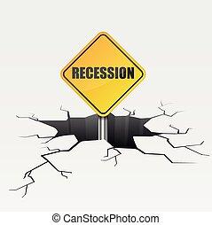 recessione, profondo, crepa