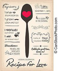 receta, boda, creativo, amor, invitación