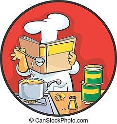 receta, chef, sopa, preparando, lectura, cookbook.