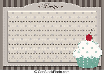 receta, retro, tarjeta, cupcake