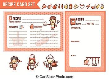 receta, tarjeta, conjunto, cocina, cocina