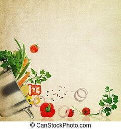 receta, template., verduras frescas, en, tela, textura