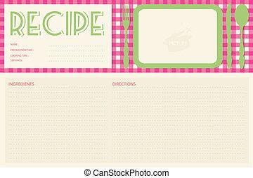 receta, vector, disposición, retro, tarjeta