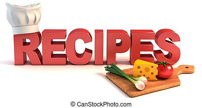 recetas, concepto, 3d