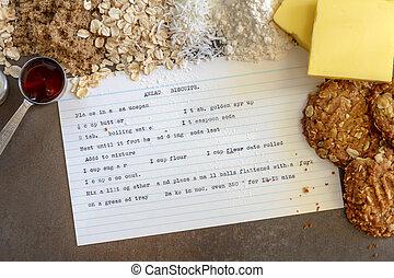 recette, anzac, cuit, ingrédients, biscuits, vendange
