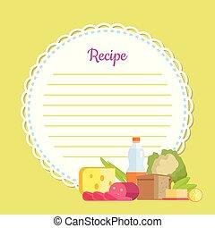 recette, liste, plat, vecteur, fait maison, rond, vide