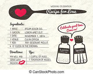 recette, mariage, créatif, amour, invitation