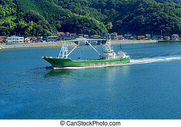 recettes, bateau pêche, port