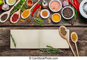 recettes, livre, divers, spices., vide