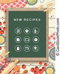 recettes, nouveau, conception, plat, tableau, écrit
