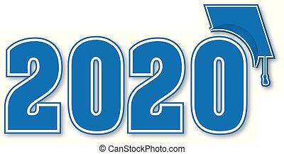 recevant diplôme classe, 2020, casquette, bleu