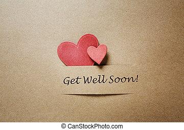 recevoir bien bientôt, cœurs, message, rouges