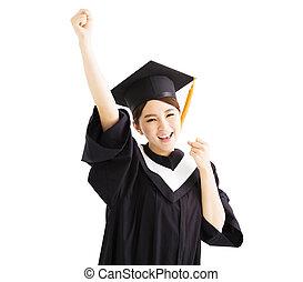 recevoir diplôme, augmentation, reussite, main, ÉTUDIANT, geste, heureux