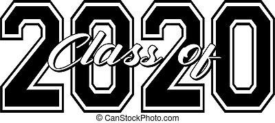 recevoir diplôme, graphique, classe, 2020