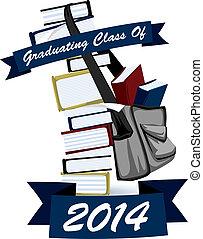 recevoir diplôme, pile, graphique, livre, classe