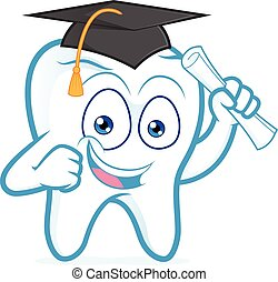 recevoir diplôme, rouleau papier, tenue, dent