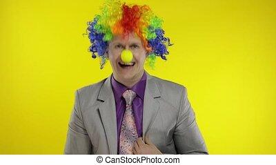recevoir, profit, perruque, clown, revenus, argent., confection, homme affaires, entrepreneur, patron