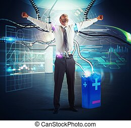 Recharge energy - Businessman recharge his energy with a...